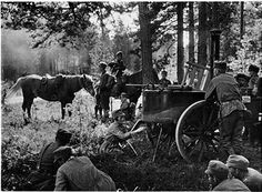 Finnish Army detail waiting for food to be heated for lunch on front line trenches, circa 1945. Pin by Paolo Marzioli