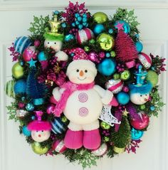 Pink Snowman Christmas Wreath with Bottlebrush Christmas Trees Pink Lime Blue. $139.00, via Etsy.