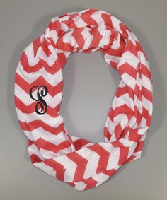 Red & White Zigzag Initial Infinity Scarf