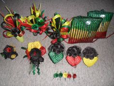 Rasta theme wedding bouquets and arrangements. A flax bouquet.