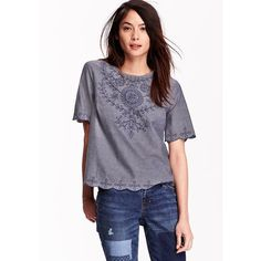 Old Navy Womens Embroidered Chambray Tops ($25) ❤ liked on Polyvore