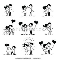 set of doodle couple. vector illustration