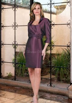 Flower & A Wrap Mini 4-length-sleeves Column Strapless Mother Of The Bride Dress