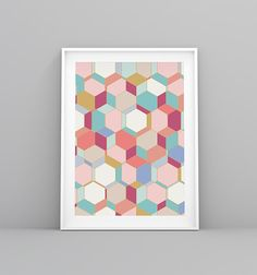 Nordic Print, Laminas Nordicas, Hexagon Print, Turquoise Print, Abstract Prints, Coral Art, Gold Abstract, Geometric Print, Geometric Art