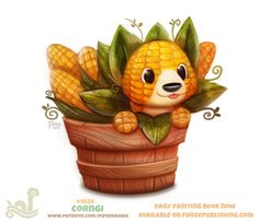 Daily Paint Corngi by Cryptid-Creations on DeviantArt Cute Food Drawings, Cute Animal Drawings, Kawaii Drawings, Anime Animals, Cute Animals, Fruit Animals, Animal Puns, Animal Food, Cute Fantasy Creatures