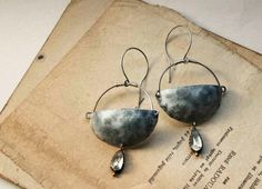 Cybele earrings large hand formed textured metal by LucieTales