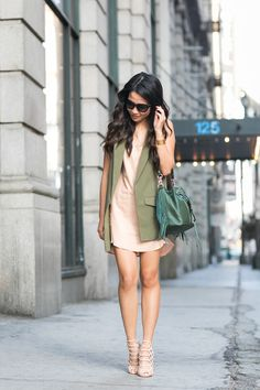 Vest :: Topshop Dress :: Mason Shoes :: Schutz Bag :: Rebecca Minkoff Accessories :: Prada sunglasses,