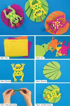 Make frog on a water lily leaf step by step instructions with printing . Make frog on a water lily leaf step by step instructions with printable template # Printable summer activities Frog Crafts Preschool, Pond Crafts, Craft Activities, Summer Activities, Crafts For Kids To Make, Art For Kids, Kids Crafts, Tree Frog Tattoos, Frog Coloring Pages