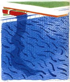 For Sale on - Pool Made with Paper and Blue Ink for Book, Lithograph by David Hockney. Offered by Upsilon Gallery. Hockney Swimming Pool, David Hockney Pool, David Hockney Artist, David Hockney Paintings, Swimming Pools, Art And Illustration, Illustrations, Robert Rauschenberg, Jasper Johns