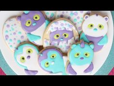 Decorated Hatchimal cookies using an 8 cookie cutter - Detailed Video tutorial - YouTube.com/montrealconfections