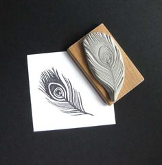 Peacock Feather Hand Carved Stamp. $10.00, via Etsy.