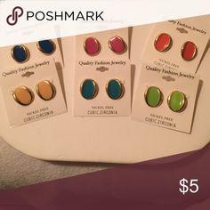 Fashion Earrings Rich Enamel Colored Post Earrings $5.00 Each Jewelry Earrings