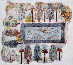 White lotus flowers in a pool full of ducks, lotus flowers and tilapia fish. Around the pool are papyrus, palms, sycomore fig, mandrake and other bushes. Mural fragment of a wall painting from the tomb of Nebamun. Egyptian, 18th Dynasty, ca.1350 BCE.  ~via sporadicq | British Museum, London