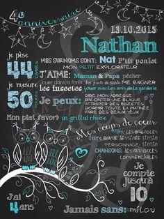 Affiche personnalisée anniversaire 2 à 5 ans Veille de hiboux (turquoise) | 28,00$ #chalkboard #lacraieco