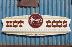 The main text on this sign was chip carved with gouges, while the text on the oval add on panel was hand carved. Restaurant Signs, Shopping Street, Business Signs, Street Signs, Sign Design, Hot Dogs, Hand Carved, Neon Signs, Twitter