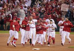 BELTRAN SAVES THE DAY FOR CARDS -- Baseball's Mr. Octubre drove in all the Cardinals' runs, including the game-winner in the 13th for a 3-2 win in Game 1 of the NLCS on October 11, 2013. Photo by St. Louis Post-Dispatch.