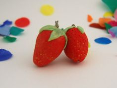 polymer clay strawberry earrings $19.95 Polymer Clay, Strawberry, Fruit, Trending Outfits, Unique Jewelry, Handmade Gifts, Earrings, Etsy, Food