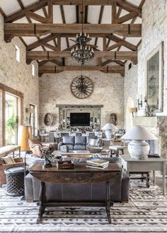 Spread Oaks Ranch: A Texan Treasure – Cowgirl Magazine Ranch Style Decor, Ranch Style Homes, The Napping House, Fancy Living Rooms, Live Oak Trees, French Table, The Ranch, Great Rooms, Habitats