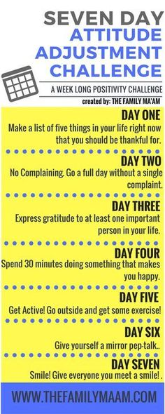 Seven Day Attitude Adjustment Challenge: Seven days to a positive mind. lol this is just 7 days. Relation D Aide, The Knowing, Mental Training, New Energy, Me Time, Positive Thoughts, Positive Outlook, Quotes Positive, Positive Attitude