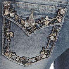 NWT MISS ME Women's Feather Border Signature Straight Leg Jeans size 26 JP5962T #MissMe #StraightLeg