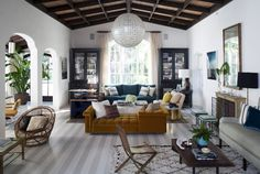 Hollywood Hills seating area with striped floors | Interior design by Nate Berkus Associates