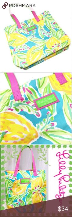 29e80d6a75 Lilly Pulitzer Floral Lemon Estee Lauder Tote NWOT Lilly Pulitzer Estee  Lauder Floral Lemon Large Beach