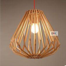 Moderna Lámpara Luz Colgante Jaula De Madera De Diamante Dormitorio Accesorio de iluminación de techo
