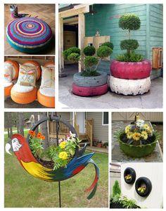 Neumáticos en el jardin