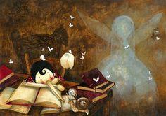 Pinocho lector (ilustración de Katerina Chadoulou)