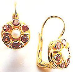 Cluster Garnet & Pearl Earrings