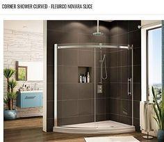 Curved shower base with curved glass shower enclosure slice design Bathroom Shower Enclosures, Frameless Shower Doors, Glass Shower Doors, Glass Door, Corner Shower Stalls, Shower Stall Kits, Shower Ideas, Shower Pan Installation, Sliding Door Panels