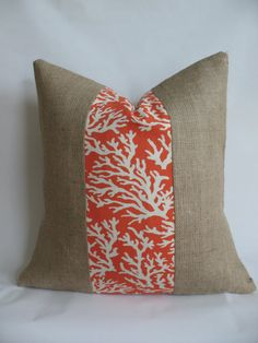 Orange Coral Outdoor Fabric and Burlap Pillow by BouteilleChic, $18.00