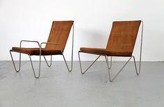 Verner Panton for Fritz Hansen; Bachelor chairs, chromed tubular steel and leather, Denmark, 1955