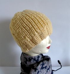 Cream Knit Hat  Womens Hat  Wool Hat  Slouchy Hat by recyclingroom, $25.00