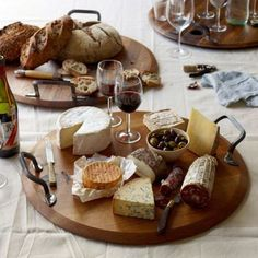 Provence Platters by Australian Design + Marketing are fashioned from repurposed wine barrel lids! This platter can hold your entire cheese and meat platter!