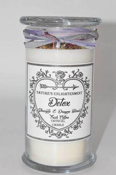 Detox Crystal Candle- Handmade Soy Candle- Elite Noble Shungite Crystal & Dragon Blood Crystal- Healing, Meditation, Detox, Gift Giving