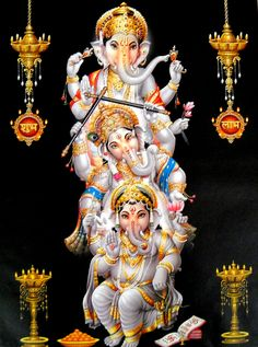 Ganesha is also invoked as patron of letters and learning during writing sessions Durga Images, Ganesh Images, Lord Ganesha Paintings, Ganesha Art, Om Gam Ganapataye Namaha, Sri Ganesh, Lord Shiva Family, Shiva Wallpaper, Nature Wallpaper