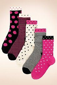 5 Pairs of Cotton Rich Spot & Striped Socks