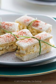 Deviled egg salad finger sandwiches are a classic for afternoon tea! Find these and other tea sandwich recipes weekly at Tea for Tuesdays.