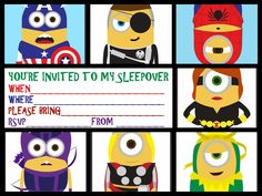 This site has many FREE invitations for a sleepover party and they are all sorted into categories  - this is a Minions one from Despicable Me :)
