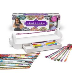 Loopdedoo Kit for Making Twisted Accessories - Loopdedoo Kit for Making Twisted Accessories Loopdedoo is a new spinning tool that uses ordinary embroidery floss to create fab and funky friendship bracelets in just minutesYou can also make necklace Rainbow Loom, Craft Kits, Diy Kits, Craft Supplies, Spinning, Kids Jewelry, Loom Weaving, Gifts For Teens, Cool Toys