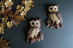 Vintage Pair of Owls 1970s Owl Wall Decor by Circa810 on Etsy