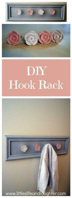 Cute DIY hook rack for coats, jewelry, scarves, etc.
