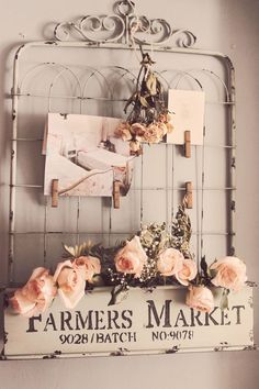By Trios Petites Filles Home Goods addiction and fabric wall treatment (http://triospetitesfilles.blogspot.com (vintage gate & sign wall decor) #shabbychickitchendecor