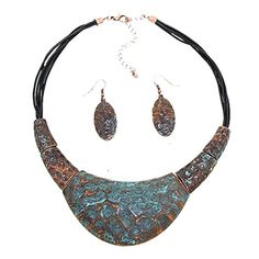 Fitbit Jewelry Set to hide and Protect Fitbit Flex and Flex 2 Fitness Activity Trackers - The PERI Antiqued Hammered Silver, Gold or Copper Necklace and Earrings Set (Copper Patina, Fitbit Flex) -- See this great product.