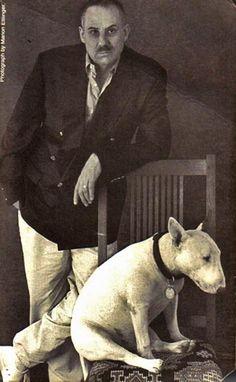 James Ellroy with his faithfull bull terrier