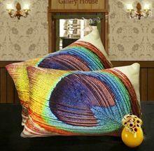 3D Effet De Luxe Couleur Paon Plume Art Housse de Coussin Taie d'oreiller Décoratif Coussin De Velours Couvre Pour Canapé Siège Chaise