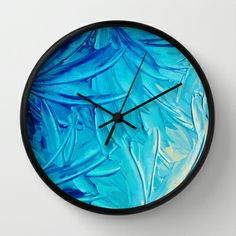 WATER FLOWERS - Beautiful Bright Restful nature Inspired Water Ocean Ombre Beach Theme Decorative Fine Art Swirls Petals Pinwheels Shades of Cream pale Blue Turquoise Cerulean Royal Blue Navy Blue Cobalt Blue Elegant Floral Modern Design Abstract Painting Home Decor Wall Clock by EbiEmporium - $30.00