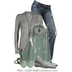 """""""Mint Green & Heather Gray"""" by steffiestaffie on Polyvore"""