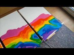 art by zhu: acrylic pouring and swiping making of rainbow tsunami - YouTube